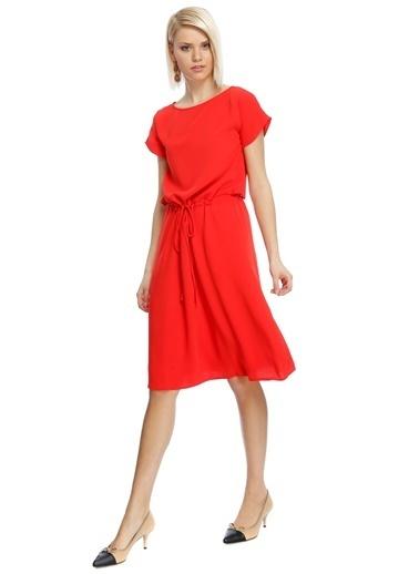 House Of Camellia Kısa Kollu Midi Elbise Mercan